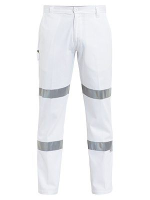 Bisley BP6808T-310gsm Cotton White work Pant with hoop R/T