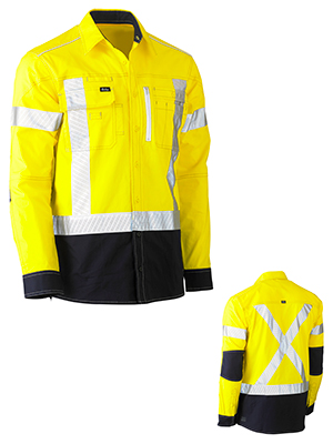 Bisley BS6177XT-Flex & Move Stretch hivi drill Utility shirt L/