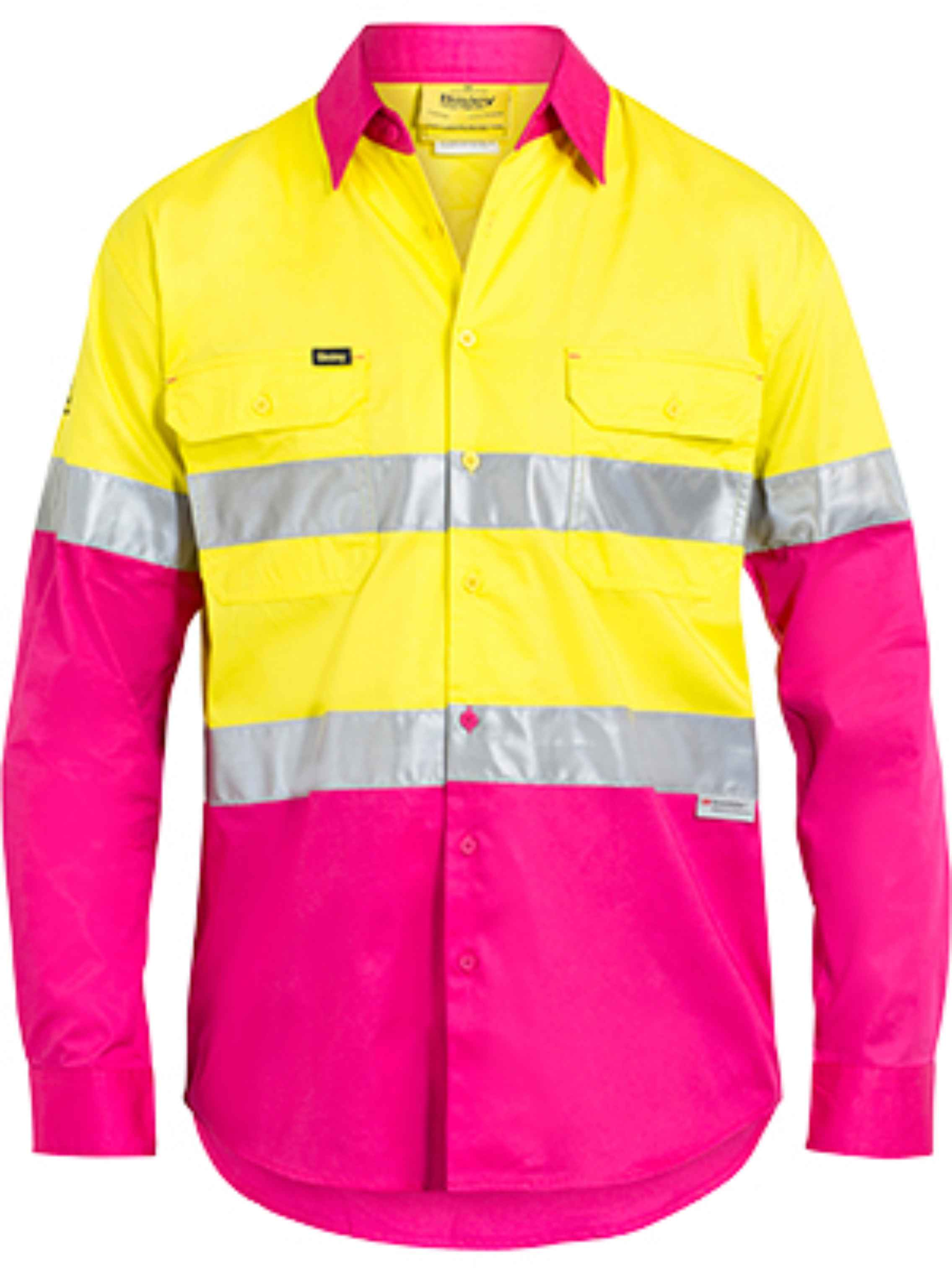Bisley bs6696t hi vis 155gsm drill shirt 3m reflective for Hi vis shirts with reflective tape