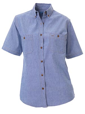 Bisley B71407L-Ladies - Chambray Shirt - Short Sleeve Button dow