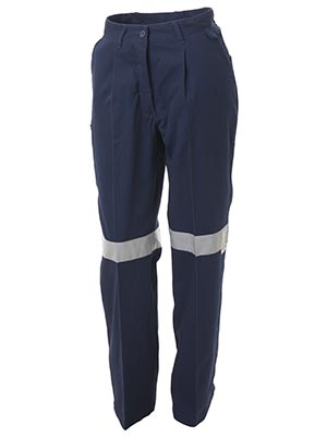 Bisley BPL6007T-Ladies Drill Pant 3M Reflective Tape
