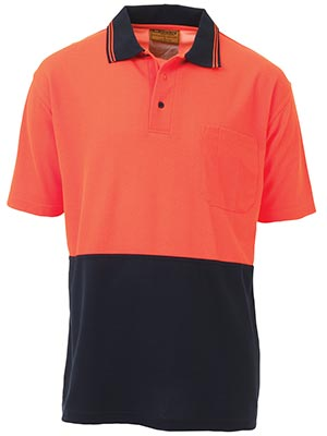 Bisley bk1234 2 tone hi vis polo shirt short sleeve for Hi vis polo shirts with pocket