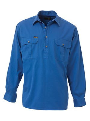 Bisley BSC6433-Closed Front Cotton Drill Shirt - Long Sleeve