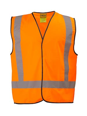 Bisley BT0347-Hi Vis Vest Reflective Tape H Pattern with Cross