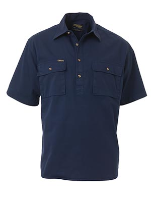 Bisley BSC1433-Closed Front Cotton Drill Shirt - Short Sleeve