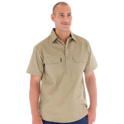 DNC 3203-190gsm Cotton Drill Close Front Work Shirt- S/S