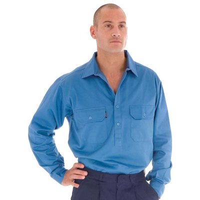 DNC 3204-190gsm Cotton Drill Close Front Work Shirt with Gusset