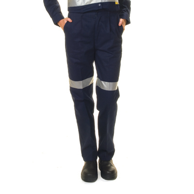 DNC 3328-311gsm Ladies Cotton Drill Trousers with 3M R/Tape