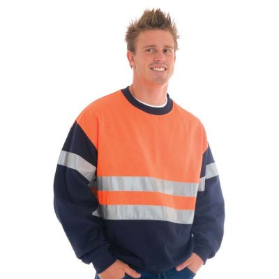 DNC 3824-300gsm Polyester Cotton HiVis Two Tone Sweatshirt (Slo