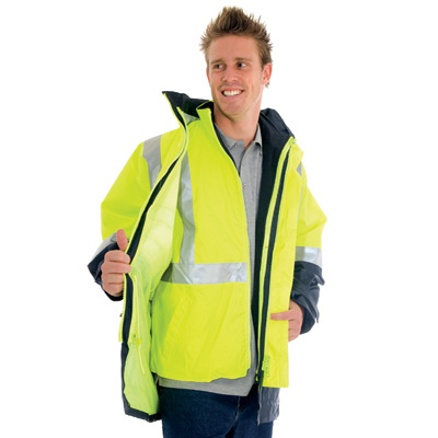 "DNC 3864-300D Polyester/PU ""4 in 1"" HiVis Two Tone Breathable J"