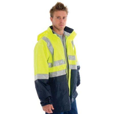 DNC 3867-300D Polyester/PU HiVis Two Tone Breathable Rain Jacket
