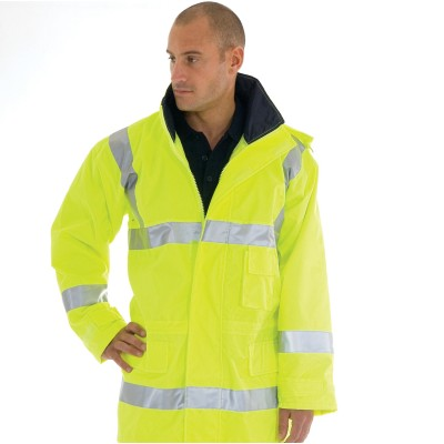 DNC 3871-300D Polyester/PU HiVis Breathable Rain Jacket With 3M