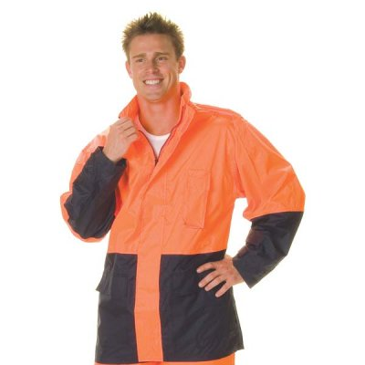 DNC 3877-190D Polyester/PU HiVis Two Tone Light Weight Rain Jack