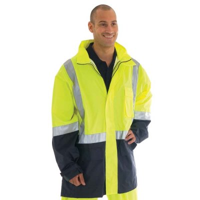 DNC 3879-190D Polyester/PU HiVis Two Tone Light Weight Rain Jack