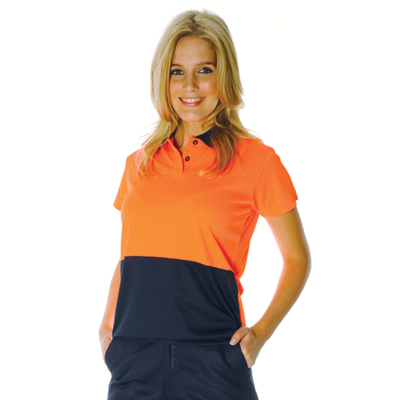 DNC 3897-175gsm Polyester Ladies HiVis Two Tone Polo, S/S