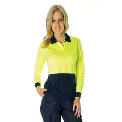 DNC 3898-175gsm Polyester Ladies HiVis Two Tone Polo, L/S