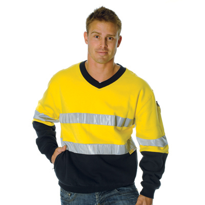 DNC 3924-300gsm HiVis Two Tone Cotton Fleecy Sweat Shirt V-Neck