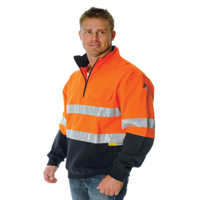 DNC 3925-300gsm HiVis Two Tone 1/2 Zip Cotton Fleecy Wincheater