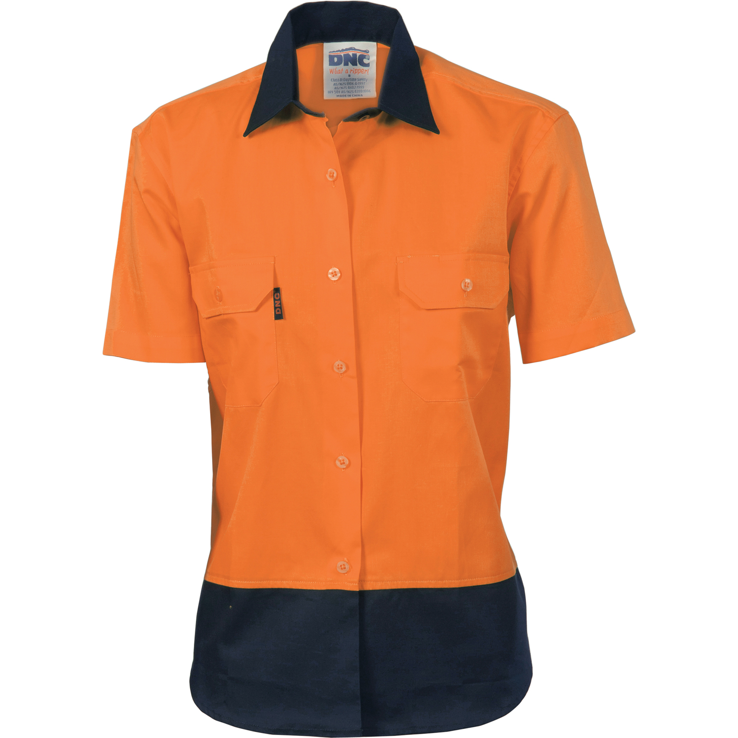 DNC 3931-190gsm Ladies HiVis Two Tone Cotton Drill Shirt, S/S
