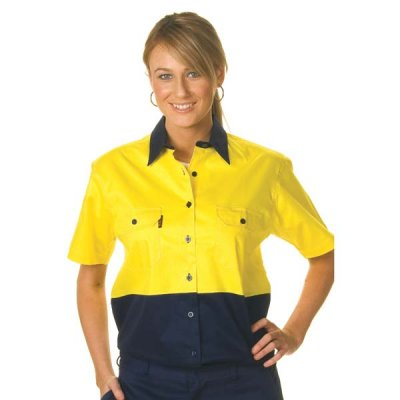 DNC 3939-155gsm Ladies HiVis Two Tone Cool-Breeze Cotton Drill S
