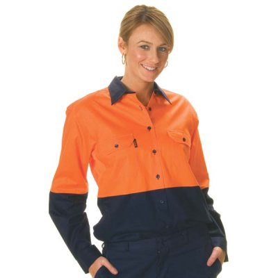 DNC 3940-155gsm Ladies HiVis Two Tone Cool-Breeze Cotton Drill S