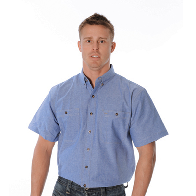 DNC 4101-155gsm Cotton Chambray Shirt, Twin Pocket, S/S
