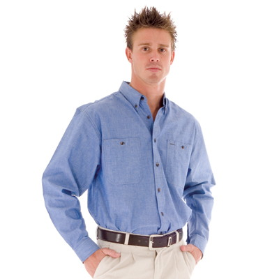 DNC 4102-155gsm Cotton Chambray Shirt, Twin Pocket, L/S
