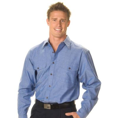 DNC 4104-155gsm Twin Flap Pocket Cotton Chambray Shirt, L/S
