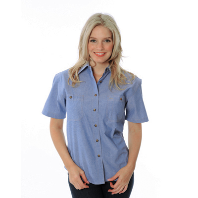 DNC 4105-155gsm Ladies Cotton Chambray Shirt, S/S