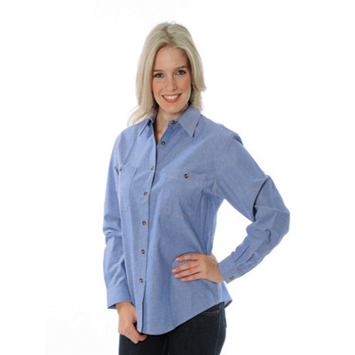 DNC 4106-155gsm Ladies Cotton Chambray Shirt, L/S