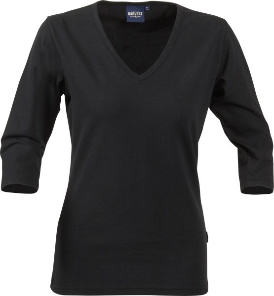 James Harvest Lynn-Ladies V-neck stretch top with ¾ sleeve.