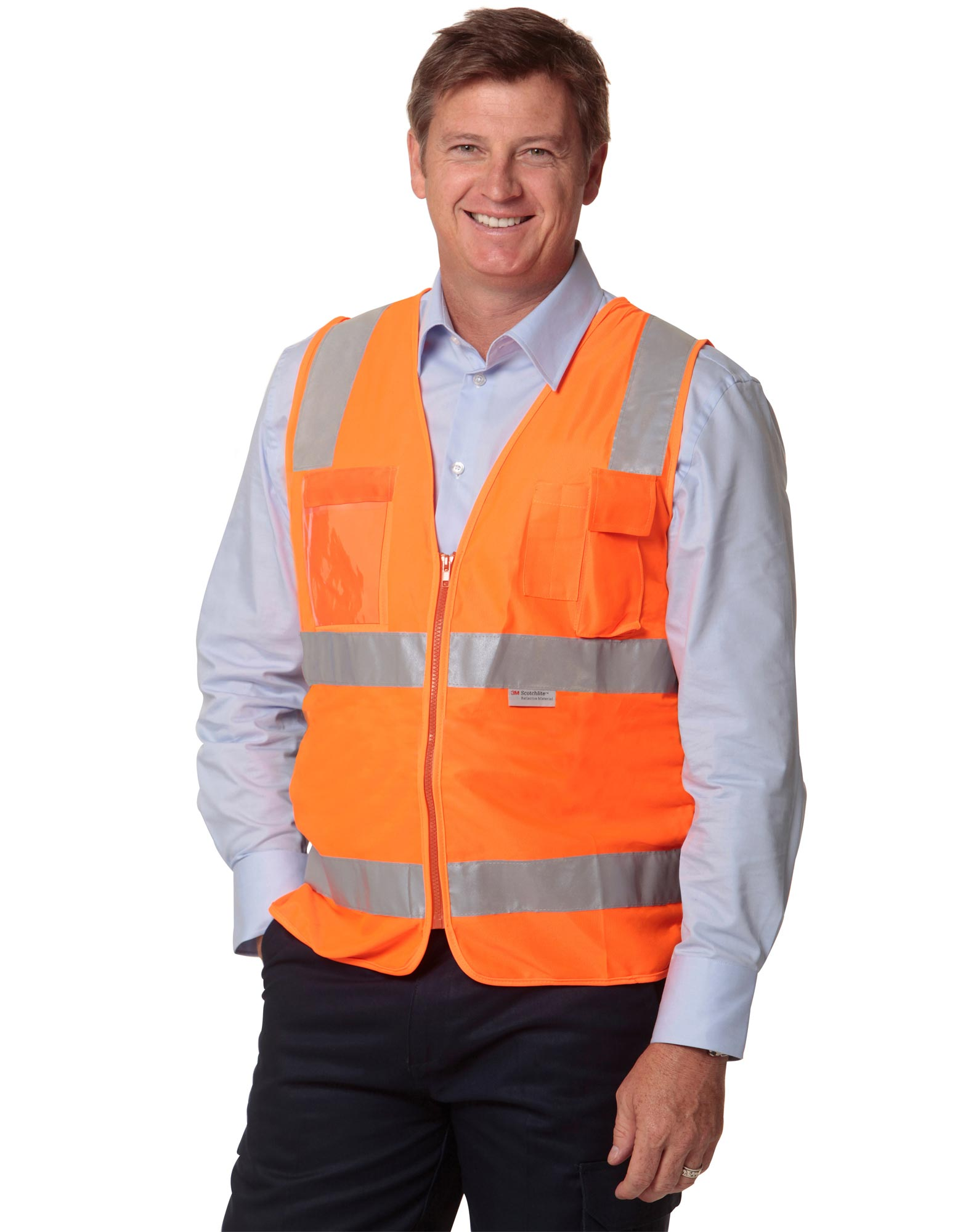 WinningSpirit SW42-HI-VIS SAFETY VEST WITH ID POCKET & 3M TAPES