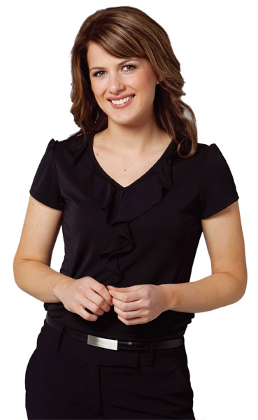 BENCHMARK M8820-Women's Ruffle Front Blouse 100% Polyester
