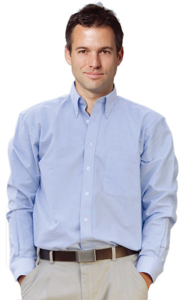 BENCHMARK M7902-Men's Washed Oxford Long Sleeve Shirt 100%