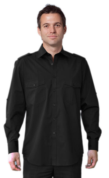 BENCHMARK M7912-Men's Long Sleeve Mili- tary Shirt 60% Cot