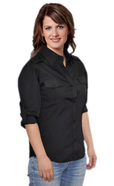 BENCHMARK M8913-Womens 3/4 Sleeve Military Shirt 60% Cotton,