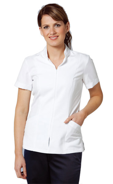 BENCHMARK M8636-Women's Zip Front Short Sleeve Tunic 100%