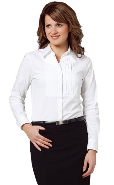 BENCHMARK M8192-Women's Stretch Tuck Front Shirt 60% Cotton