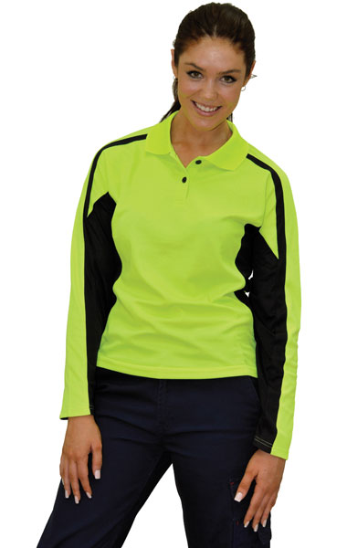 WinningSpirit SW34-Ladies' TrueDry® Long Sleeve Safety Polo