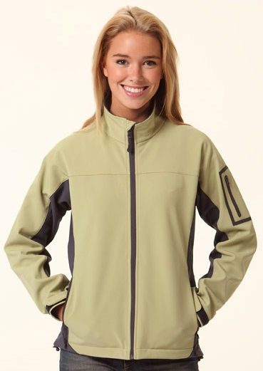 JK32-Ladies contrast colour softshell jacket