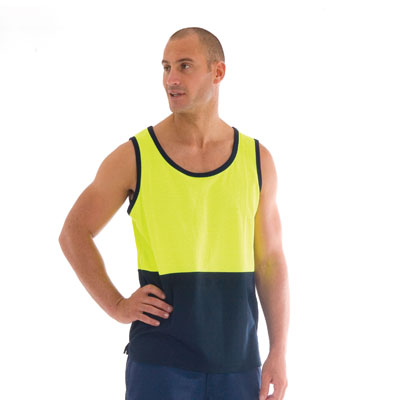DNC 3841-185gsm Cotton Back HiVis Two Tone Singlet